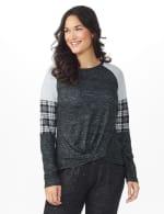 Westport Hacci Sweater Knit Twist Front Top - Black - Front