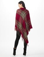 Westport Red Plaid Fringe Wrap Poncho - Red - Back
