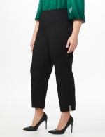 Plus Roz & Ali Superstretch Pull On Ankle Pant With Crystal Heat Seal Trim - Plus - Black - Front