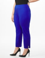 Plus Roz & Ali Superstretch Pull On Ankle Pant With Crystal Heat Seal Trim - Plus - Blue Sapphire - Front