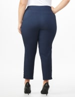 Plus Roz & Ali Superstretch Pull On Ankle Pant with Rhinestone Ring Trim - Plus - Dark denim - Back