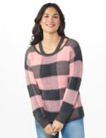 Westport Eyelash Cutout Neck Pullover Sweater - Multi - Front