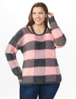 Westport Eyelash Cutout Neck Pullover Sweater - Plus - Multi - Front