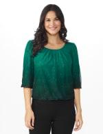 Roz & Ali Emerald Ombre Glitter Bubble Hem Blouse - Petite - 6