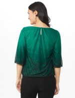 Roz & Ali Emerald Ombre Glitter Bubble Hem Blouse - Petite - Emerald - Back