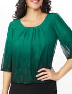 Roz & Ali Emerald Ombre Glitter Bubble Hem Blouse - Petite - 5