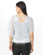 Roz & Ali Silver Sequin Bar Back Blouse - Petite - Silver - Back