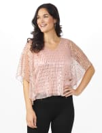 Roz & Ali Rose Gold Sequin Bar Back Blouse - Petite - Rose Gold - Front