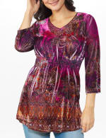 Influential Lady Velvet Knit Tunic Top - 4