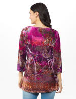 Influential Lady Velvet Knit Tunic Top - Plum - Back