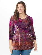 Influential Lady Velvet Knit Tunic Top - Plus - 6