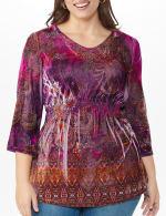 Influential Lady Velvet Knit Tunic Top - Plus - 4
