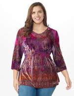 Influential Lady Velvet Knit Tunic Top - Plus - Plum - Front