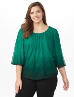 Roz & Ali Emerald Glitter Ombre Bubble Hem Blouse - Plus - Emerald - Front