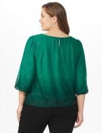 Roz & Ali Emerald Glitter Ombre Bubble Hem Blouse - Plus - Emerald - Back