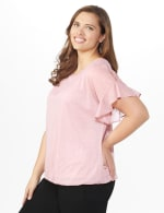 Roz & Ali Glitter Cold Shoulder Bubble Hem Blouse - Plus - 4