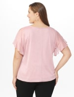 Roz & Ali Glitter Cold Shoulder Bubble Hem Blouse - Plus - Rose - Back