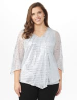 Roz & Ali Silver Sequin Angel Sleeve Blouse  - Plus - Silver - Front