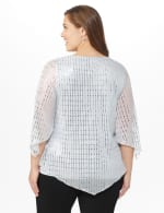 Roz & Ali Silver Sequin Angel Sleeve Blouse  - Plus - Silver - Back