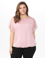Roz & Ali Glitter Cold Shoulder Bubble Hem Blouse - Plus - Rose - Front