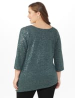 Roz & Ali Cold Shoulder Sequin Tunic Knit Top - Plus - Grey - Back