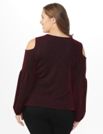 Roz & Ali Sparkle Knot Center Knit Top - Plus - Red/Black - Back