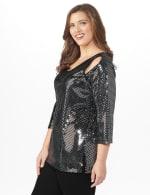 Roz & Ali Velvet Shimmer Dot Tunic Knit Top - Plus - 3