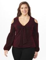 Roz & Ali Sparkle Knot Center Knit Top - Plus - Red/Black - Front