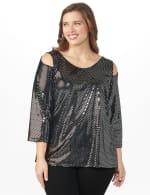 Roz & Ali Velvet Shimmer Dot Tunic Knit Top - Plus - 5