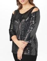 Roz & Ali Velvet Shimmer Dot Tunic Knit Top - Plus - 4