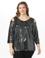 Roz & Ali Velvet Shimmer Dot Tunic Knit Top - Plus - Black - Front