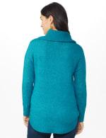Westport Cowl Neck Curved Hem Sweater - Teal - Back