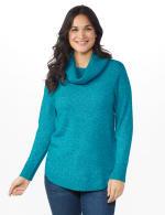 Westport Cowl Neck Curved Hem Sweater - Teal - Front