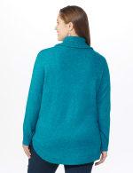 Westport Cowl Neck Curved Hem Sweater - Plus - Teal - Back