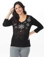 DB Sunday Snowflake Glitter Knit Top - Black - Front