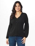 Westport Embellished Crochet Trim Knit Top - Misses - Black - Front