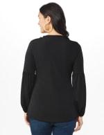 Westport Embellished Crochet Trim Knit Top - Misses - Black - Back