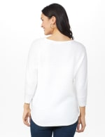 Westport Basketweave Stitch Curved Hem Sweater - White - Back