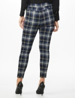 High Rise Plaid Pull On  Jean Style Ankle Pant - Black/UltraMarine - Back