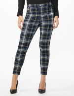 High Rise Plaid Pull On  Jean Style Ankle Pant - Misses - Black/UltraMarine - Front