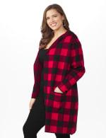 Roz & Ali Buffalo Plaid Sweater Coat - Plus - 4