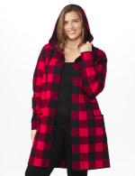 Roz & Ali Buffalo Plaid Sweater Coat - Plus - 6