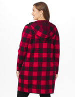 Roz & Ali Buffalo Plaid Sweater Coat - Plus - Red/Black - Back