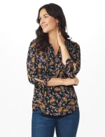 Westport Paisley Pintuck Woven Popover - black/Gold - Front