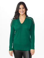 Roz & Ali Beaded Sweater Tunic - Moss - Front