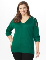 Roz & Ali Beaded Sweater Tunic - Plus - Moss - Front
