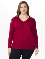 Roz & Ali Beaded Sweater Tunic - Plus - Velvet Red - Front