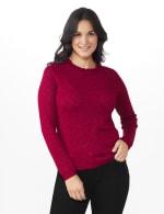 Roz & Ali Pointelle Ruffle Trim Pullover Sweater - 6