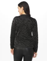 Roz & Ali Animal Lurex Pullover Sweater - Black/Silver - Back