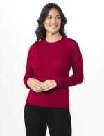 Roz & Ali Pointelle Ruffle Trim Pullover Sweater - 5